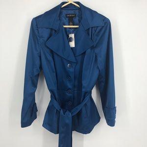 NWT Lane Bryant Size 18 Blue Shiny Trenchcoat
